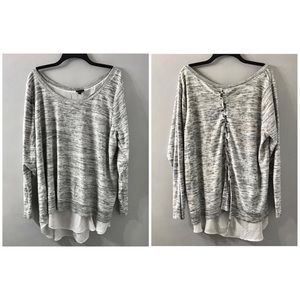 GREY & WHITE KNIT TO WOVEN 2FER PULLOVER